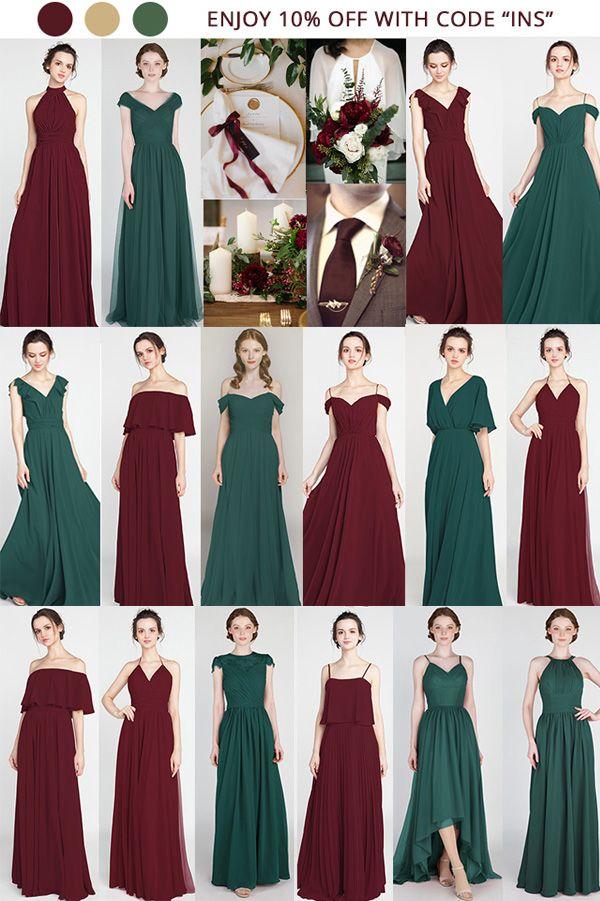 Burgundy And Emerald Green Bridesmaid Dresses Wedding Weddinginspiratio Emerald Bridesmaid Dresses Emerald Green Bridesmaid Dresses Green Bridesmaid Dresses