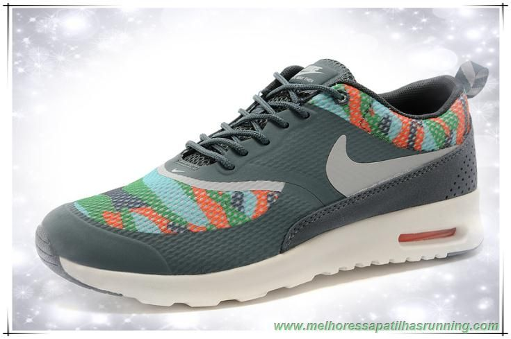 detailed look d1e7c 700fb melhores sapatilhas running Ashen   Laranja   Branco   Cinza 599408-016 Nike  Air Max Thea Print