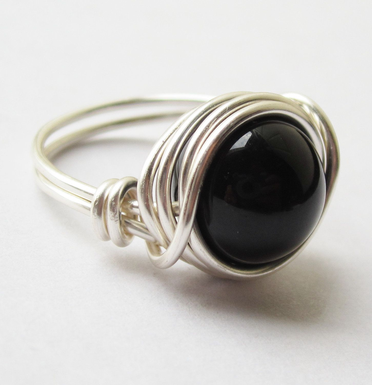 Large Black Gemstone Ring - Silver and Black Agate Cocktail Ring - Jewelry. $14.40, via Etsy.