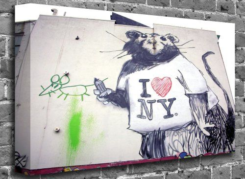 Banksy - Rat NYC Street Graffiti Stencil Art Canvas Art Canvas Print Picture print Size: (24 x 16) Size:24 x 16 (60cm x 40 cm Approx). Framed on a 40mm (4cm) Chunky Canvas Stretcher Frame. Lifetime Fade Resistant - Printed Using the Highest 12 Colour Canon Printers. Printed on the highest quality canvas with self tensioning frame wedges. Produced by the UK's largest supplier. Shipped to you wi... #canvas101 #Home