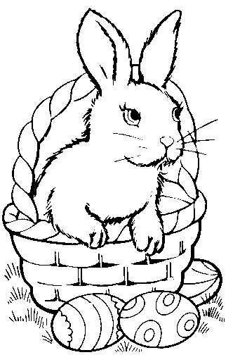 Bunny In Egg Picture White Bunny Bunny And Basket Bw Colored