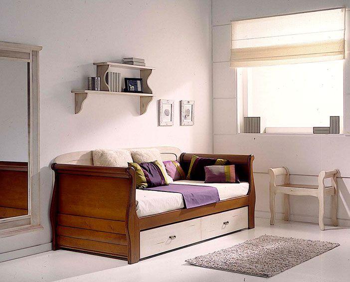 Cama barco nido o con 2 cajones bicolor material madera for Sillon cama con cajones