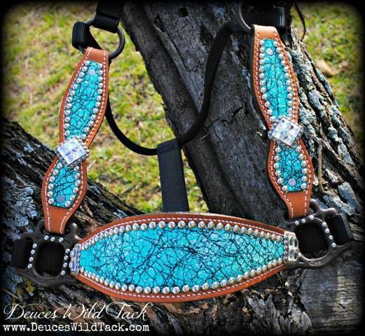 Turquoise Crackle Cheek Halter - DEUCES WILD TACK LLC