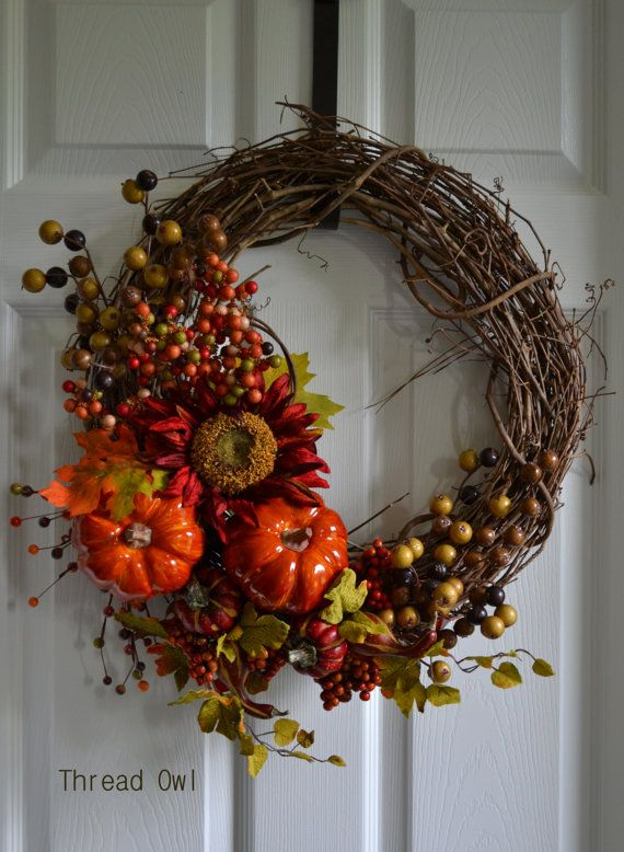 Thankful Thanksgiving Wreath by threadowl on Etsy