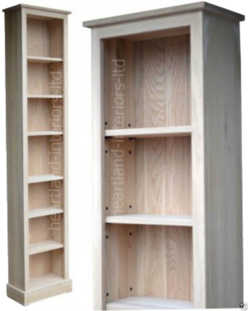 Solid Oak Bookcase, 7ft Tall Narrow Slim Jim Adjustable Display Shelving  Unit