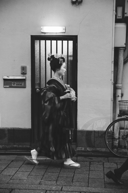 Giappone fotografia, stampa in bianco e nero, foto geisha