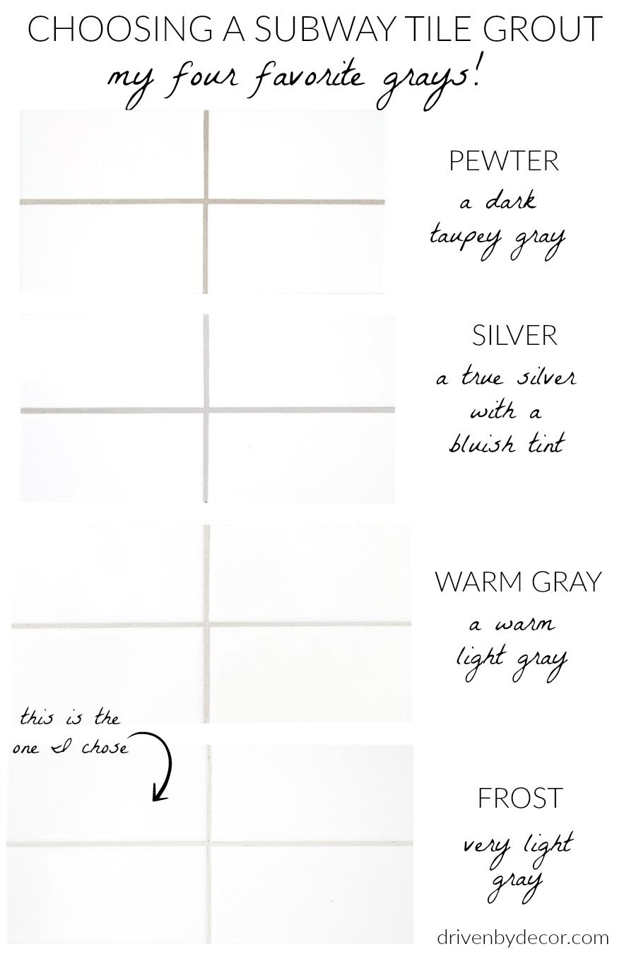 White Subway Tile with Gray Grout: My Favorite Grays | Driven by Decor