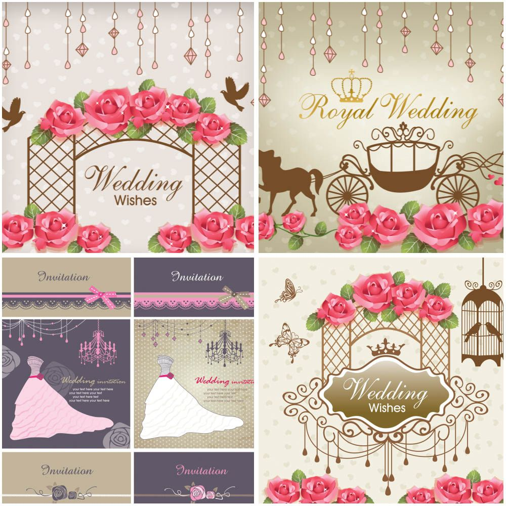 Wedding wishes cards with horse carriage, beautiful dress, flowers ...