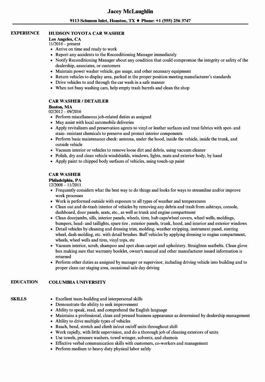 Enterprise Rent A Car Resume Awesome Car Washer Resume Samples Resume Examples Enterprise Rent A Car Good Resume Examples