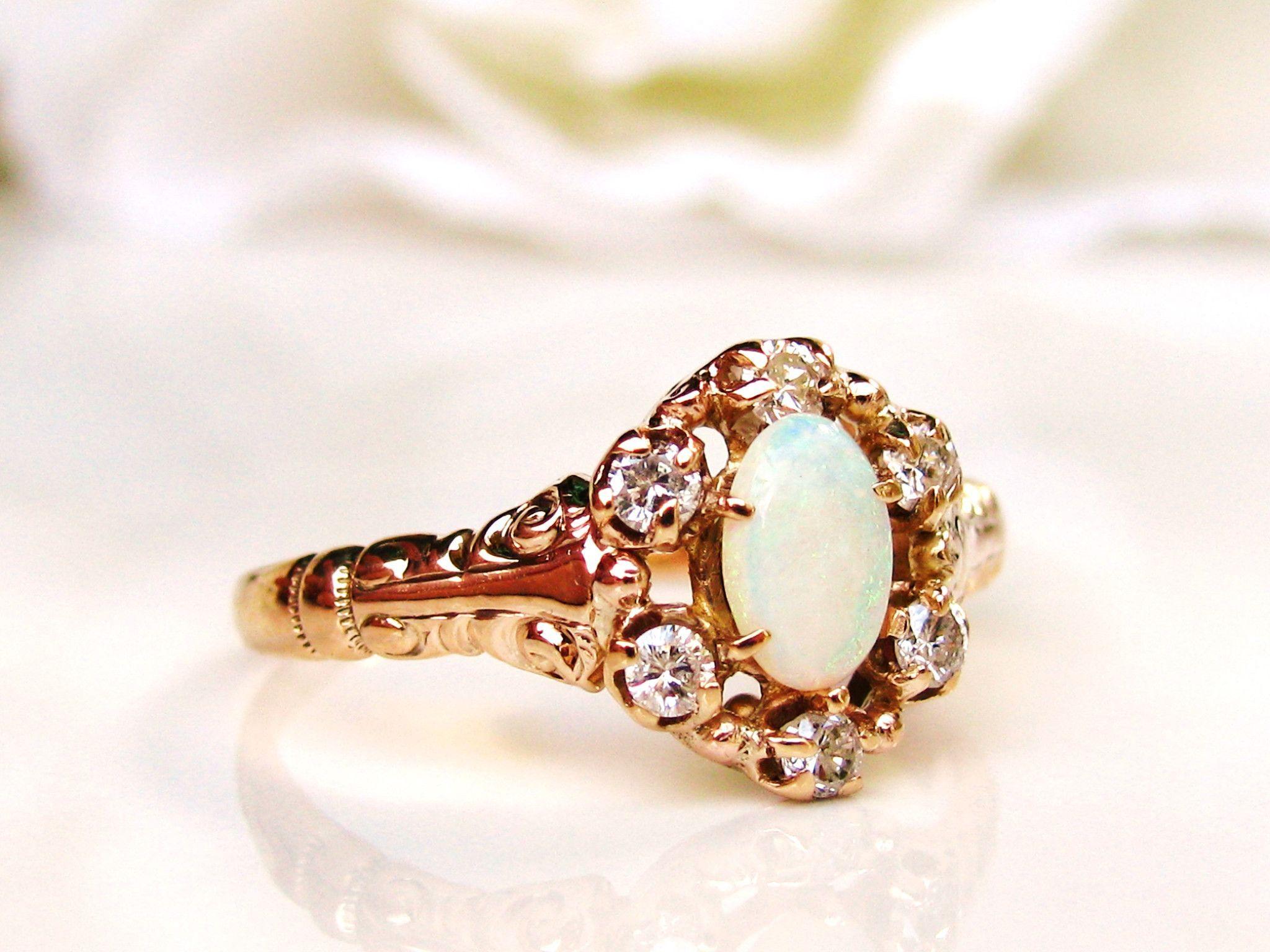 Vintage Opal Diamond Ring Alternative Engagement 14k Gold Dainty Victorian Style Wedding