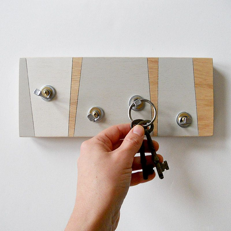 Key Hook Geometric Modern Linear Design Key Rack Hooks Etsy Wall Mounted Key Holder Key Holder Key Hooks