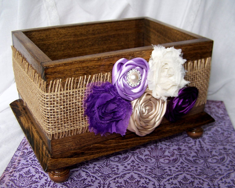 Wedding Card BOX - Burlap, Purple, Lilac and Ivory, Modern Shabby ...