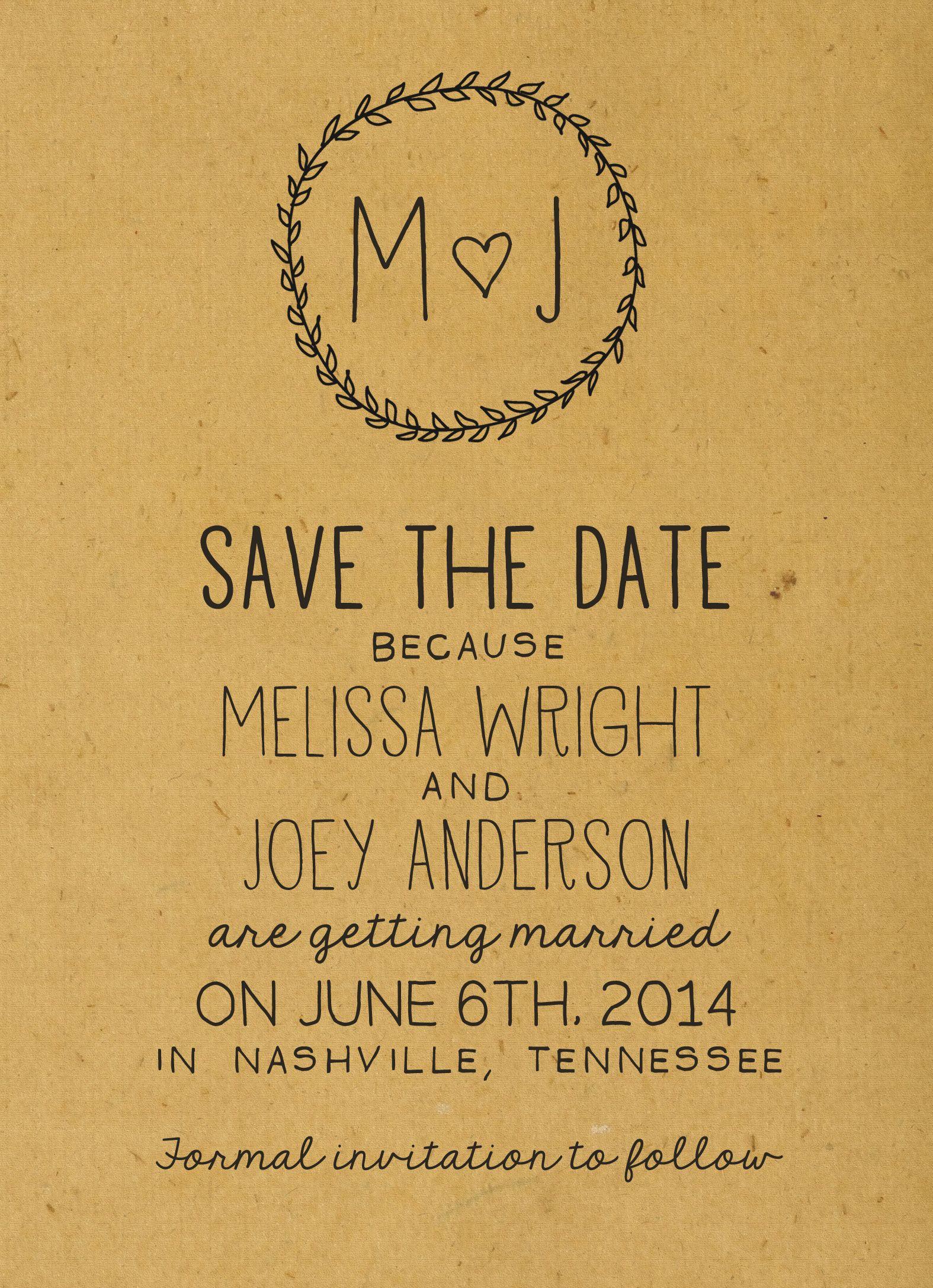 Rustic Save the Date // Minimalist Wedding // Boho Chic, Shabby Chic, Country Wedding