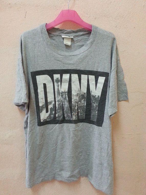 Vintage 90s DKNY Jeans Donna Karan New York Tshirt Big Logo   Statue ... 3ac24fb0473