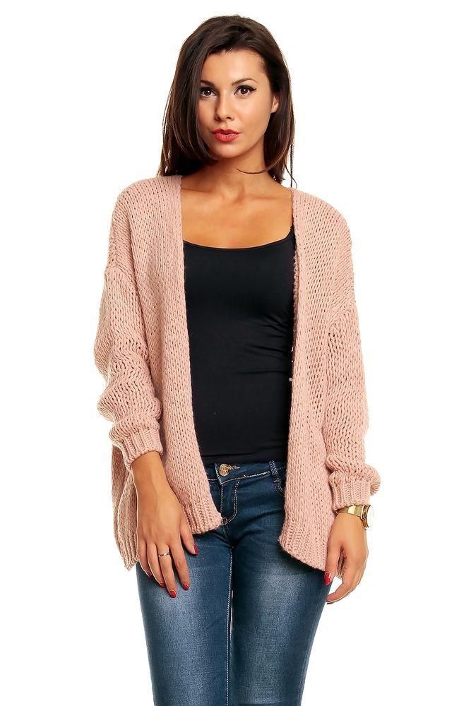 Cardigan Damen Altrosa Rosa Lang Pullover Pulli Longshirt Jacke Strick Wolle Stickjacke Pulli Longshirt