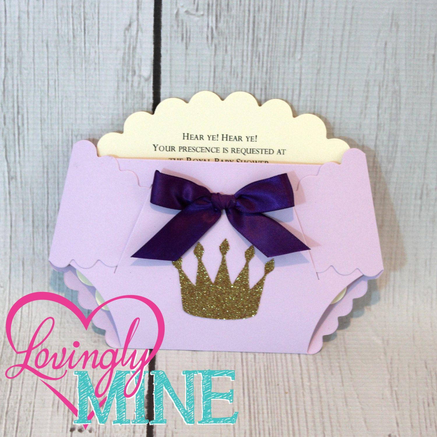baby shower diaper invitations in lavender purple and glitter gold