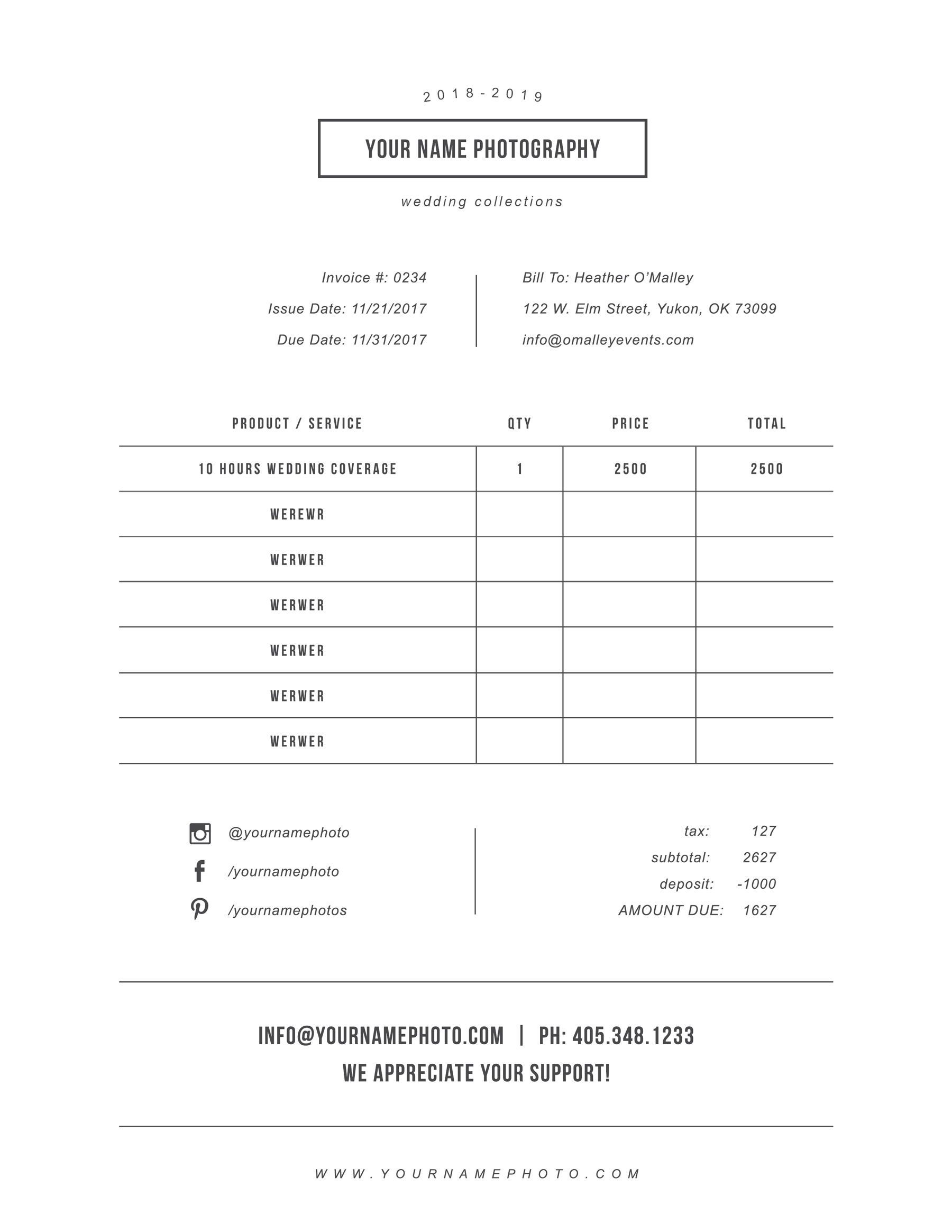 Invoice Templates For Photographers Photography Customizable Invoices Photography Invoice Photography Invoice Template Invoice Design