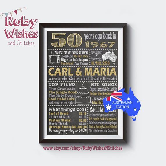 Personalised 50th Wedding Anniversary 1967 Chalkboard Printable Australian Golden