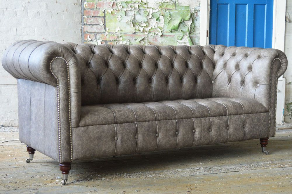 3 SEATER DISTRESSED GREY DEEP BUTTONED LEATHER CHESTERFIELD ...