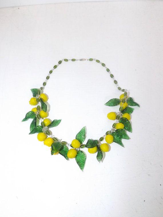 Vintage Murano Venetian Glass Lemon Fruit Leaves Necklace Etsy Flower Jewellery Leaf Necklace Fruit Necklace