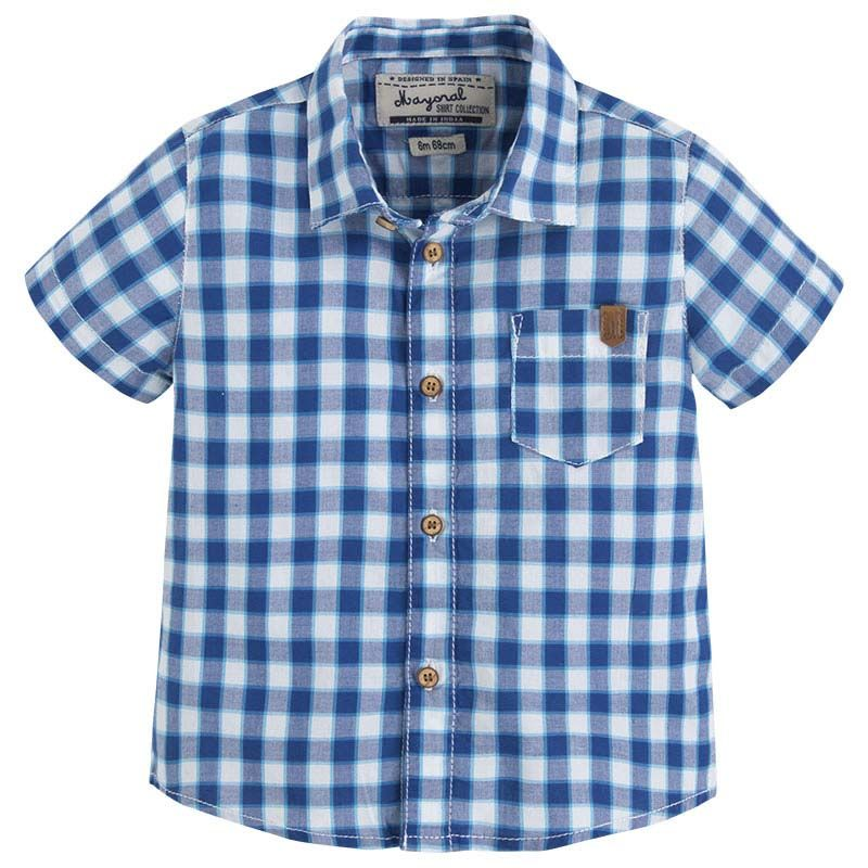b63f87181 Camisa cuadro manga corta Azul - Mayoral | Fashion baby | Pinterest ...