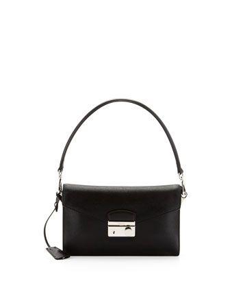 Saffiano Shoulder Bag with Removable Crossbody Strap, Black (Nero) by Prada at Neiman Marcus.