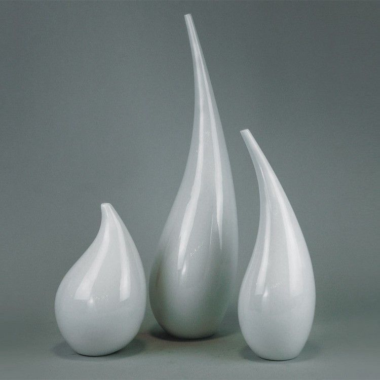 Ceramicslife Modern Single Branch Flower Vase White Ceramic Ornaments Creative Home Accessories Living Room Style