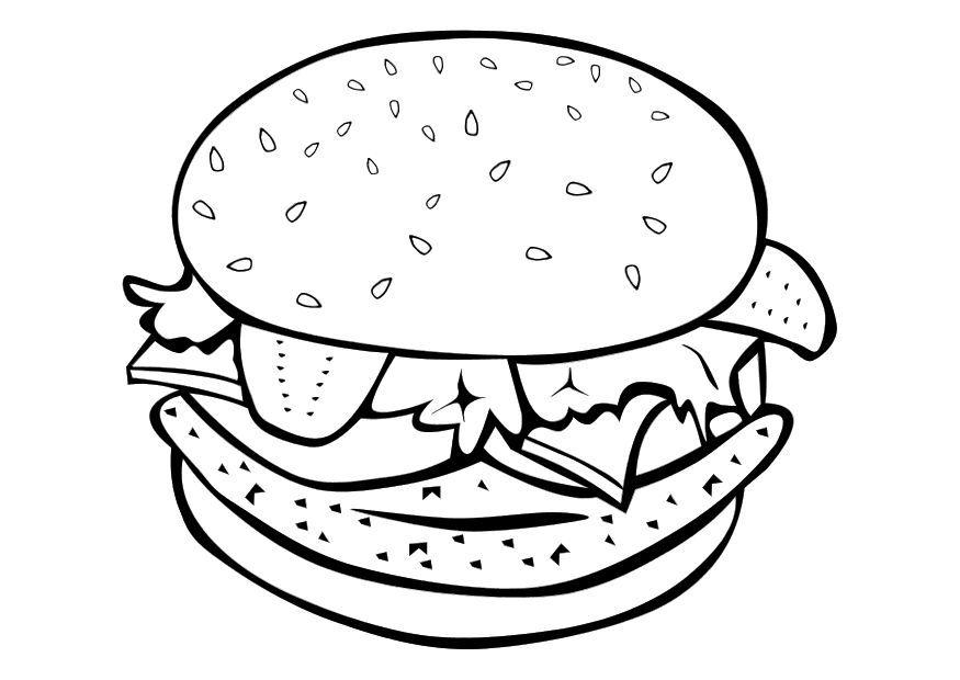Best Hamburger Junk Food Burger Coloring Pages for kids | Burgers ...