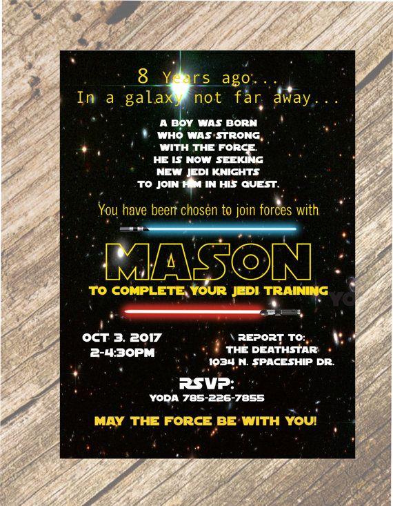 Personalized 4x6 OR 5x7 Star Wars Jedi Training Birthday