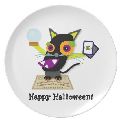 Happy Halloween Black Cat Cartoon Plate - halloween decor diy cyo - halloween decorations black cat