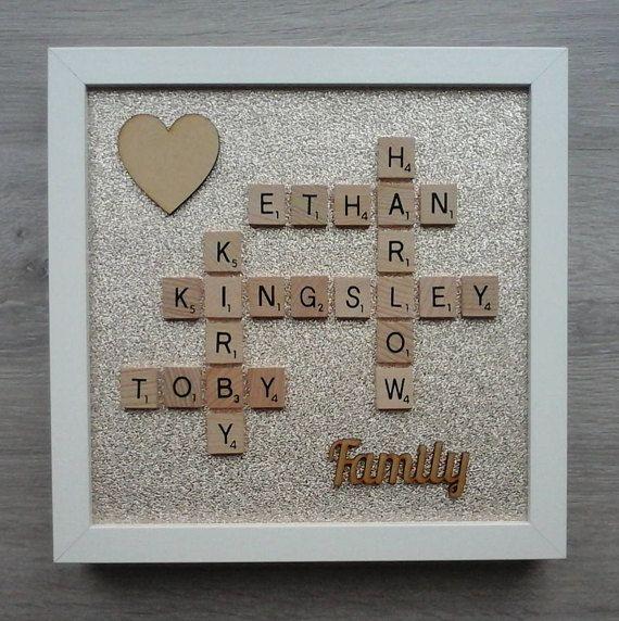 Scrabble Letters Word Art /'Love/' Picture Frame Handmade White