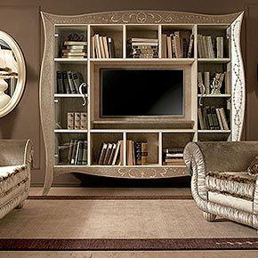 _ Mobile porta tv LIberty in legno sagomato, finitura avorio ...