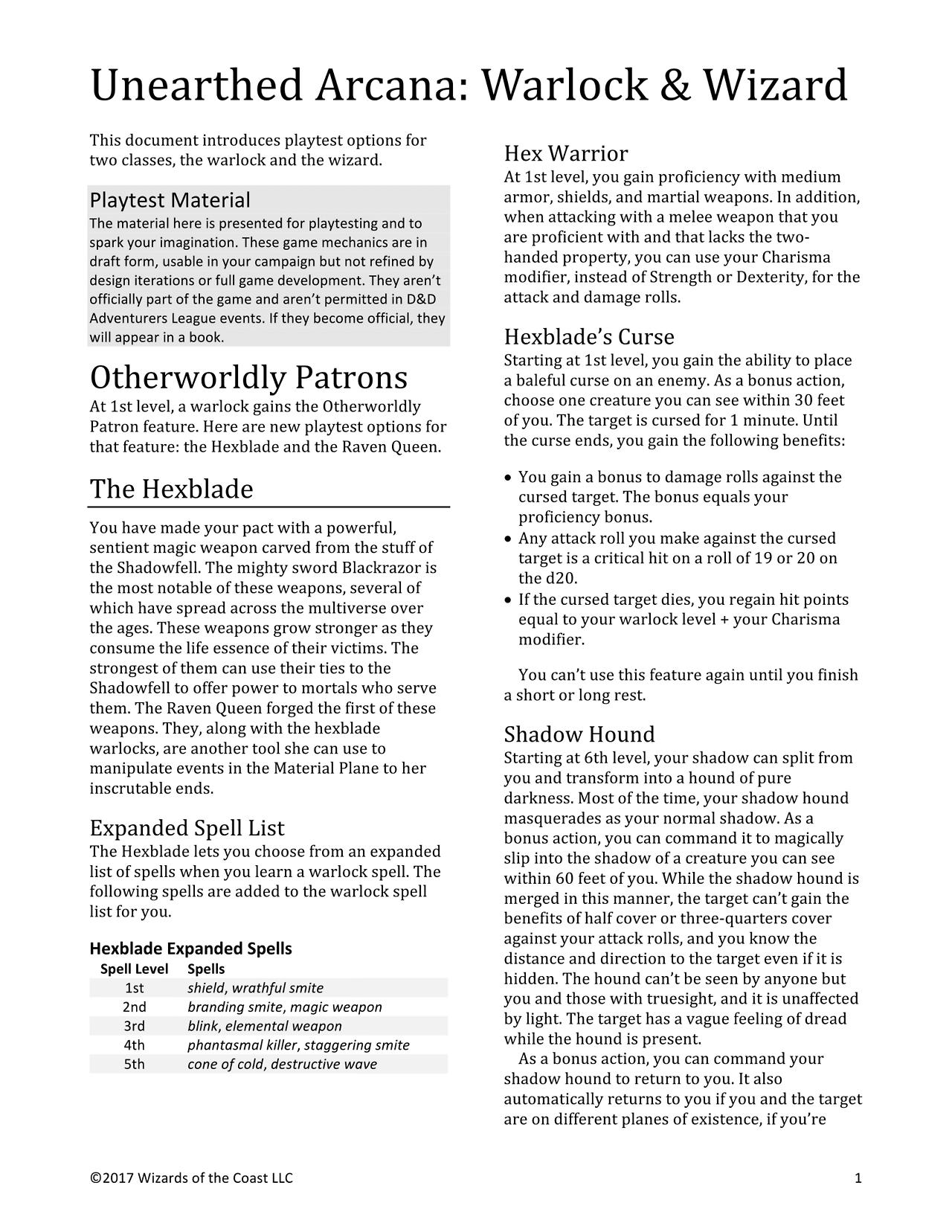Unearthed Arcana Warlock & Wizard: Hexblade, Raven Queen