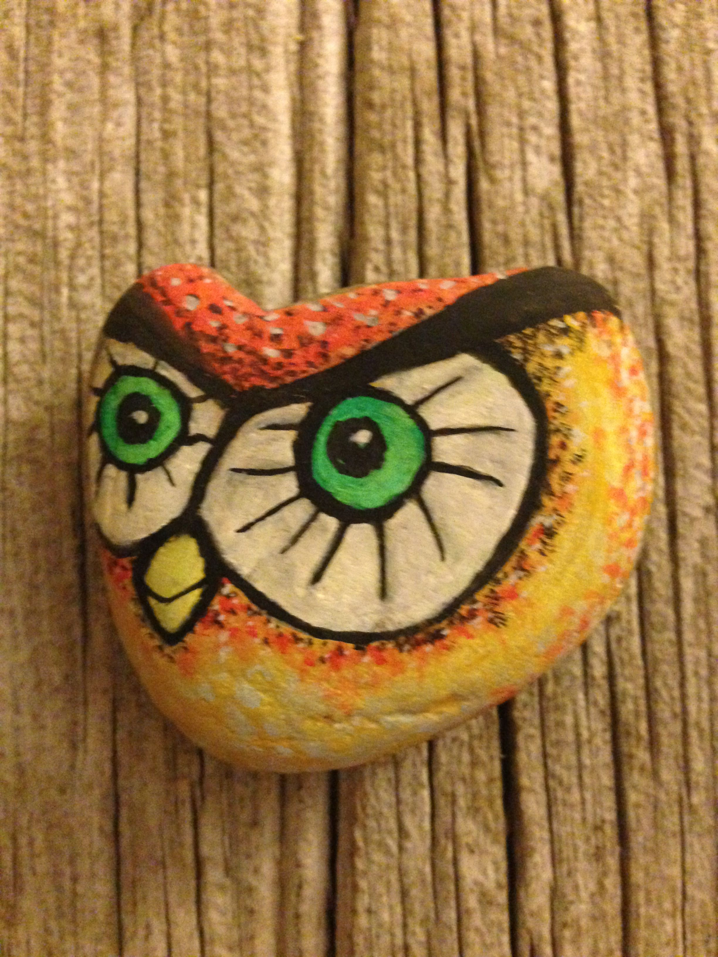 owl color, painted rock