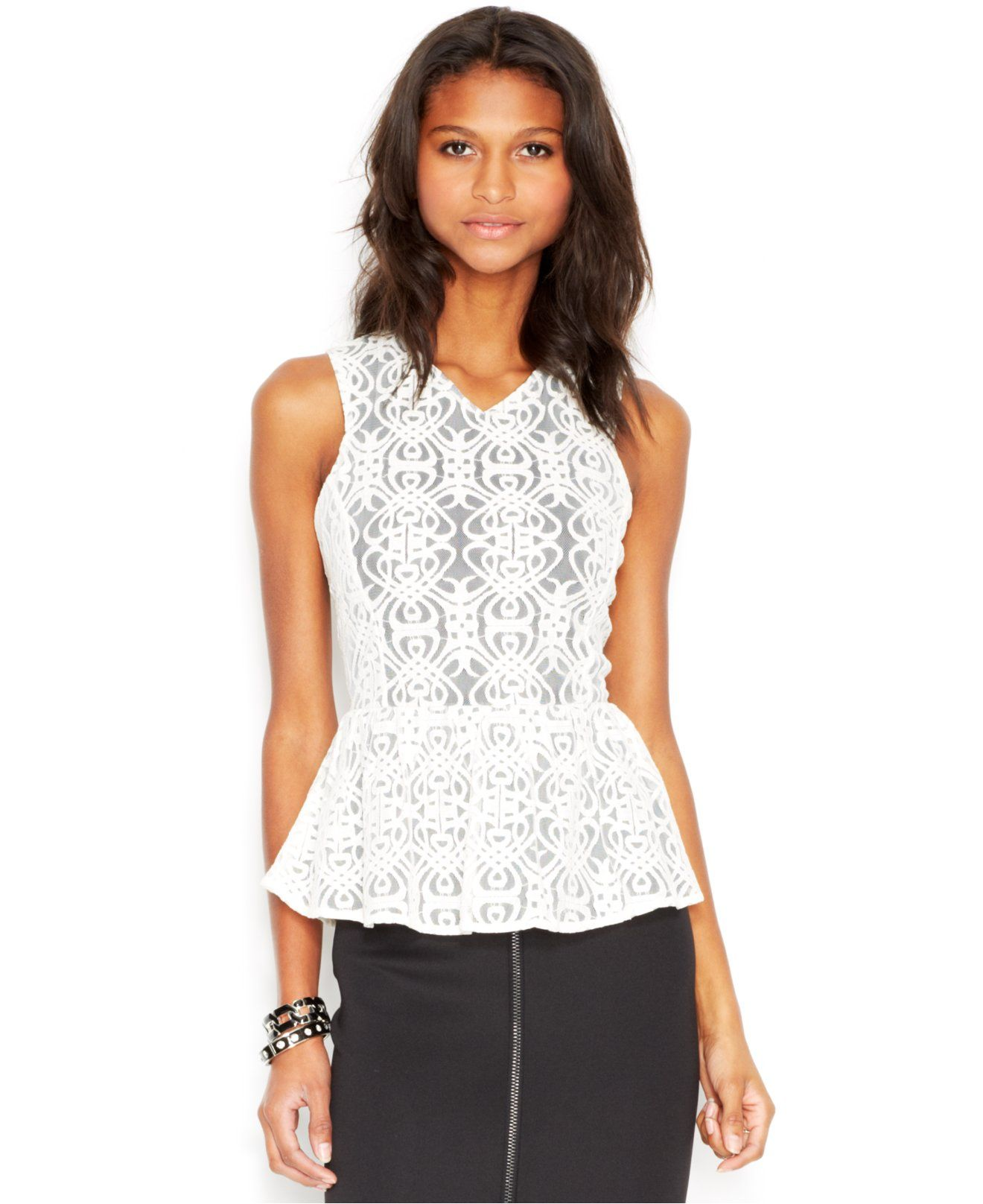 Lace dress macys  Bar III Sleeveless Lace Peplum Top  Tops  Women  Macyus  Clothes
