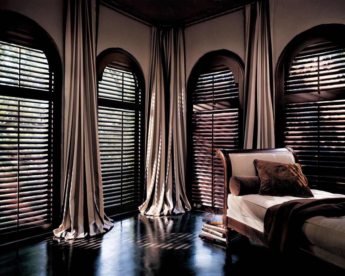 Arched Louvered Shutters from Exotic Dark Wood