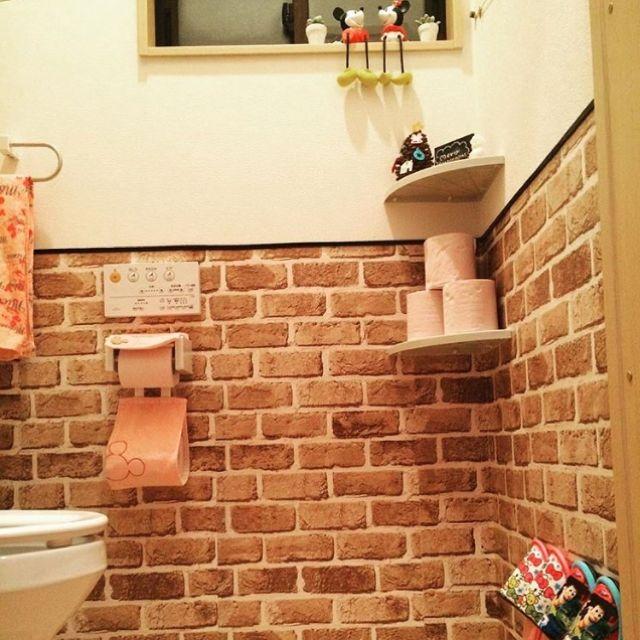 バス トイレ 100均 ダークブラウン 塗装diy 建売住宅 などのインテリア実例 2017 02 05 21 43 59 Roomclip ルームクリップ 壁紙 レンガ 建売 トイレ