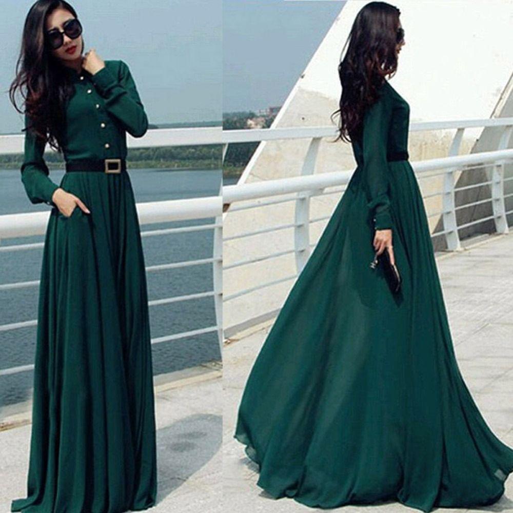 Zehui Summer Vintage Women Green Long Sleeve Long Dress Casual Pocket Slim Formal Dresses