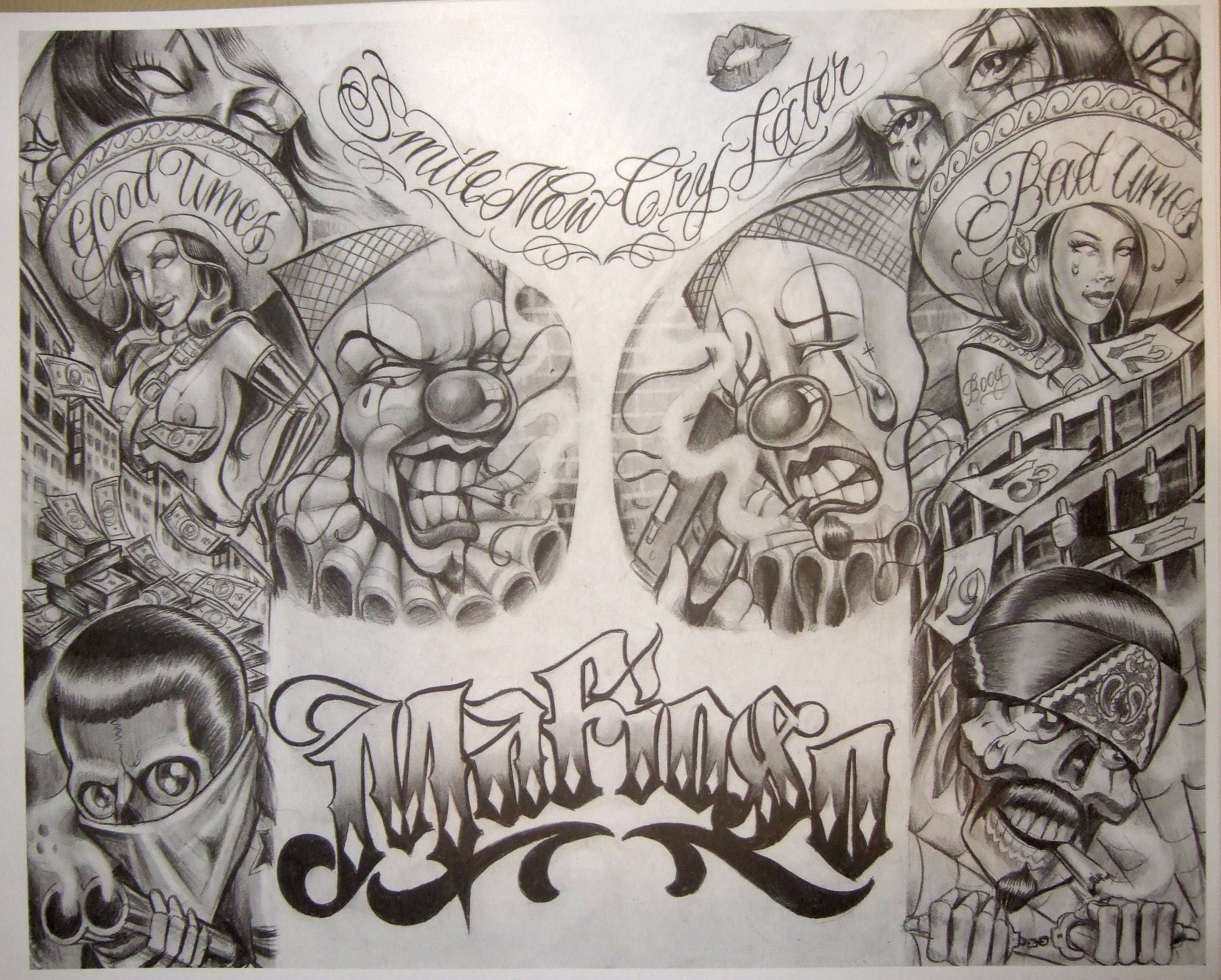 Boog Tattoo Flash Prison Gangster Art Chicano Art Tattoos