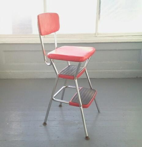 Bon Cosco Kitchen Chair, Chair And Step Stool Combo, Red Vinyl And Chrome. The