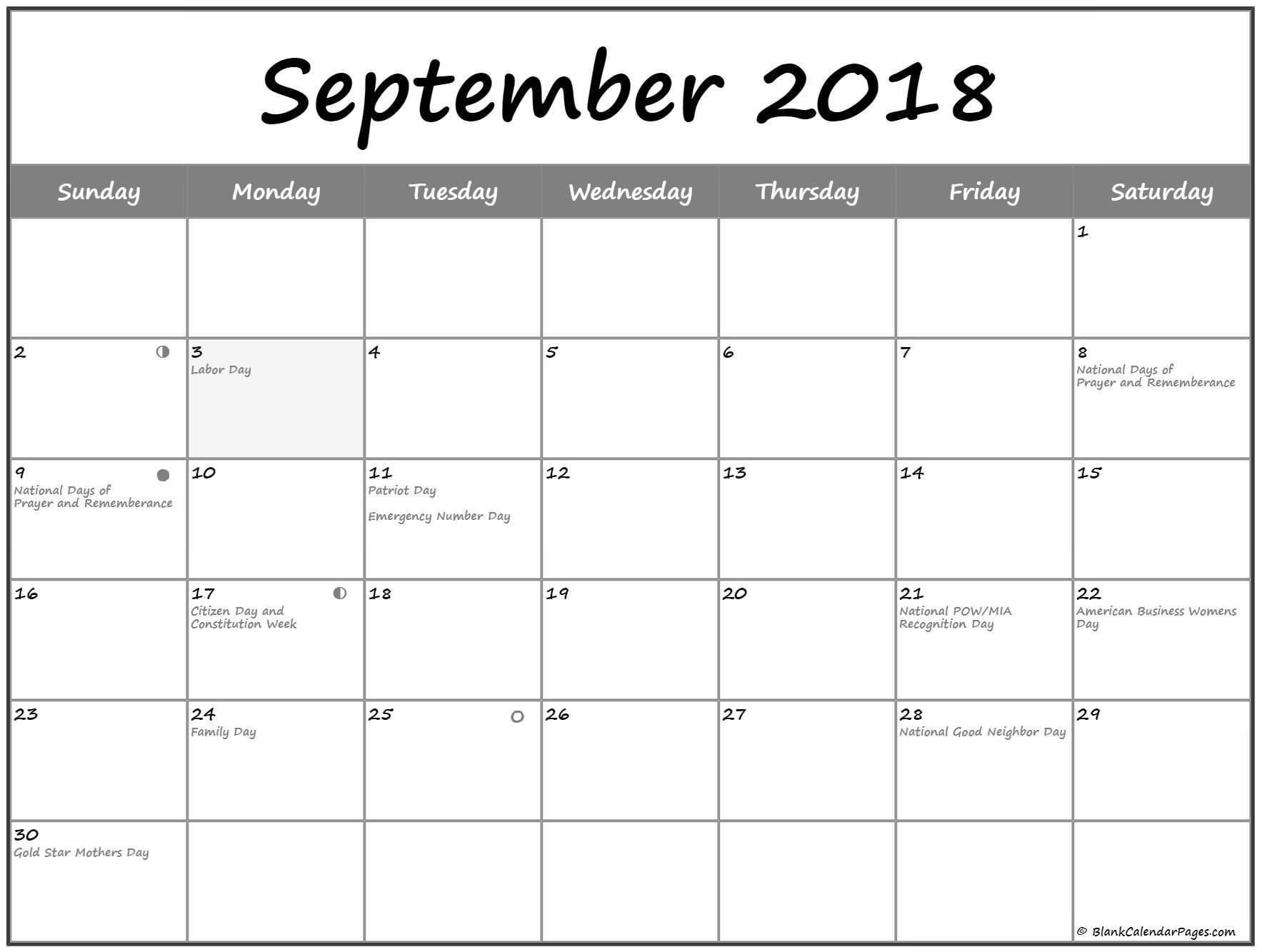 September 2018 Lunar Calendar. Moon Phase Calendar With