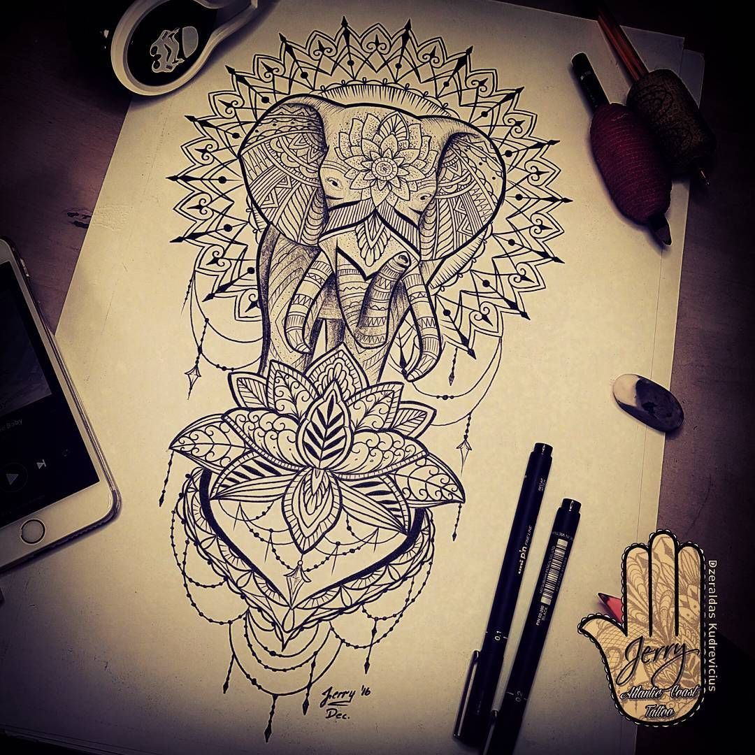 Mandala Tattoo Idea Elephant Tattoo Design Idea Lotus Flower
