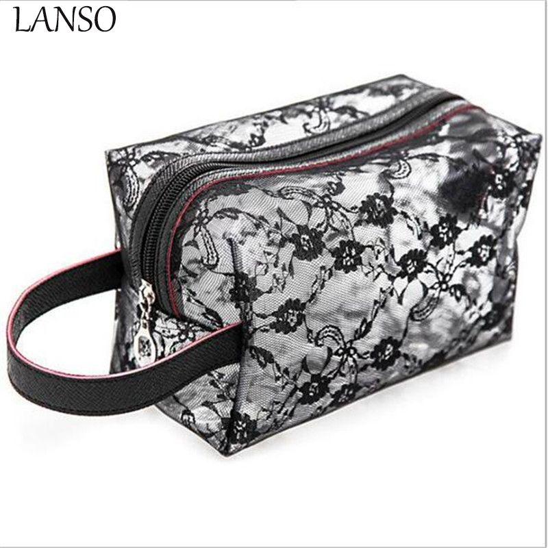 Fashion Women Transpa Lace For Cosmetic Cases Make Up Bag Organizer Makeup Handbag Travel Toiletry