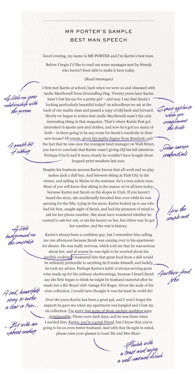 HOW TO ACE A BEST MANS SPEECH from the boys at Mr Porter You - father of the bride speech examples