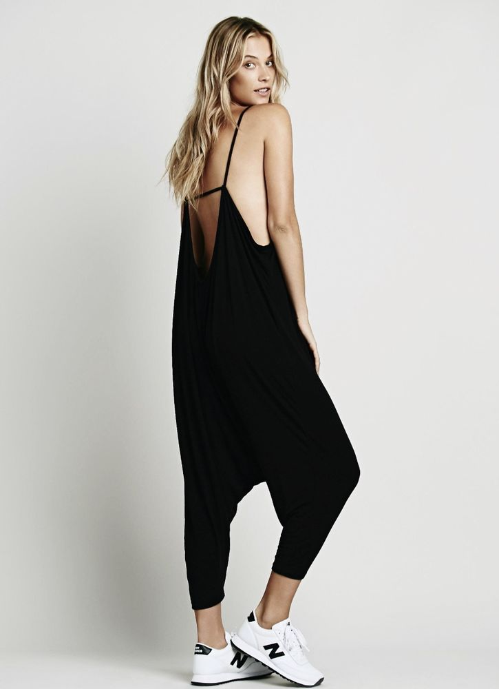 0ec73601dcc4 NEW Free People IFP black Oversize Making Moves Romper Harem Stretch  Jumpsuit XS  IntimatelyFreePeople  jumpsuit
