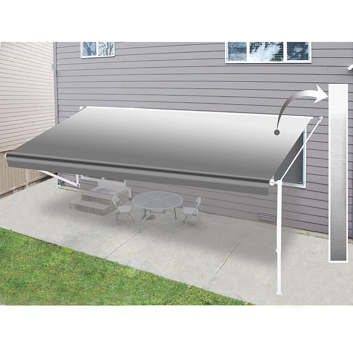 12 Ft W X 10 Ft D Plastic Retractable Standard Patio Awning Patio Canopy Retractable Awning Patio Swing