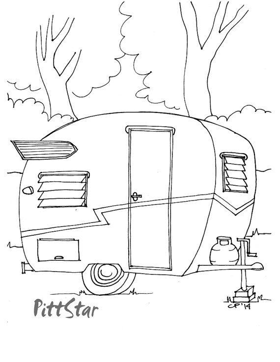 Instant Download 1960 Vintage Shasta Travel Trailer With Etsy Coloring Pages Camper Quilt Camper Art