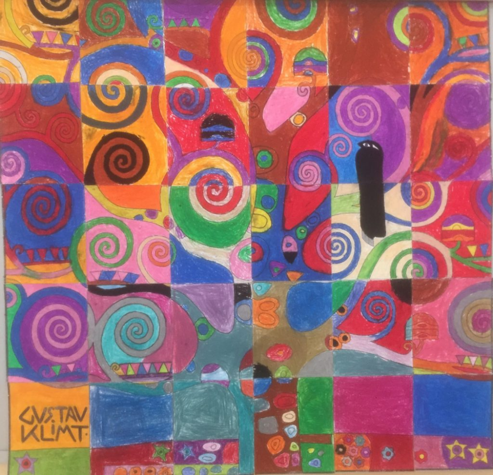 Klimt Tree of Life from Kuwait is part of School art projects, Childrens art projects, Art projects, Klimt paintings, Kids art projects, Elementary art projects -  I did this with my 5 year olds at Kuwait English School today and, although they had a fantastic time creating a  crazy tree  as they called it