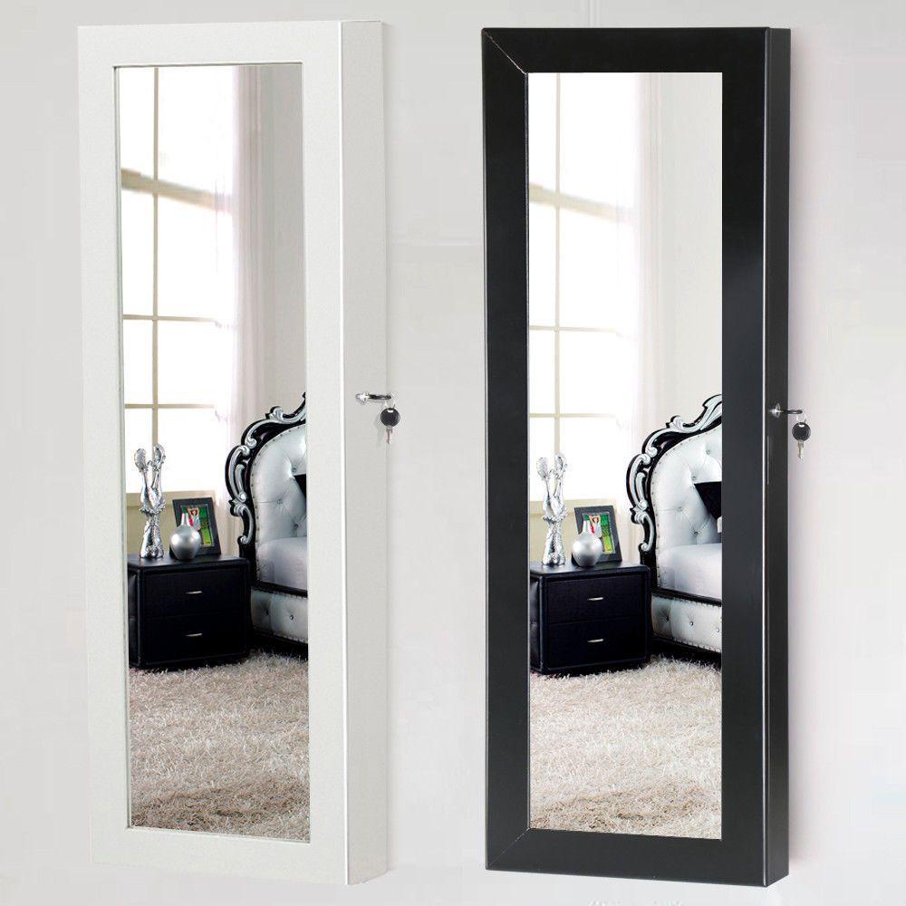 Lockable Mirrored Jewelry Cabinet Armoire Mirror Organizer Storage