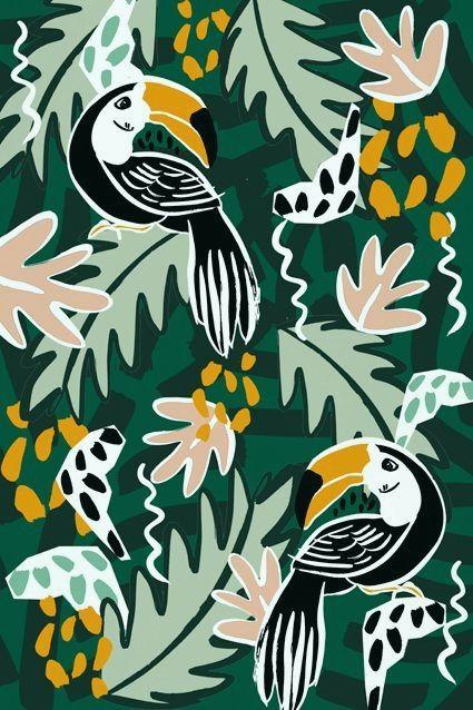 Spektakulär Motif tiré de & nbsp; oiseaux dans la jungle collection de Dora Szentmihalyi #junglepattern